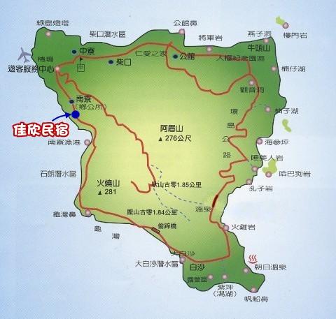 交通地图~绿岛民宿 佳欣民宿艺品店